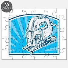 Jigsaw Power Tool Woodcut Retro Puzzle
