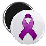 """Purple Awareness Ribbon 2.25"""" Magnet (10 pack)"""