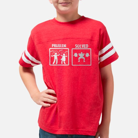 Problem Solved Weight Lifting Youth Football Shirt