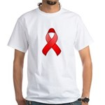 Red Awareness Ribbon White T-Shirt