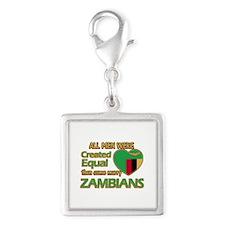 Zambian wife designs Silver Square Charm