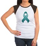 Teal Awareness Ribbon Women's Cap Sleeve T-Shirt