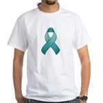 Teal Awareness Ribbon White T-Shirt