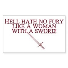 Woman with a Sword Rectangle Decal