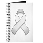 White Awareness Ribbon Journal