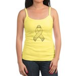 White Awareness Ribbon Jr. Spaghetti Tank