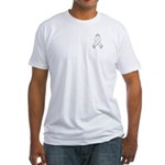 White Awareness Ribbon Fitted T-Shirt