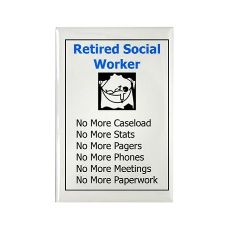 Retired Social Worker Rectangle Magnet