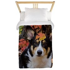 Cute Corgi in Fall Colors Twin Duvet
