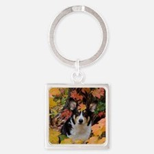 Cute Corgi in Fall Colors Square Keychain