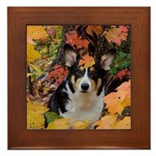 Cute Corgi in Fall Colors Framed Tile
