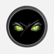Cat Green Eyes Wall Clock