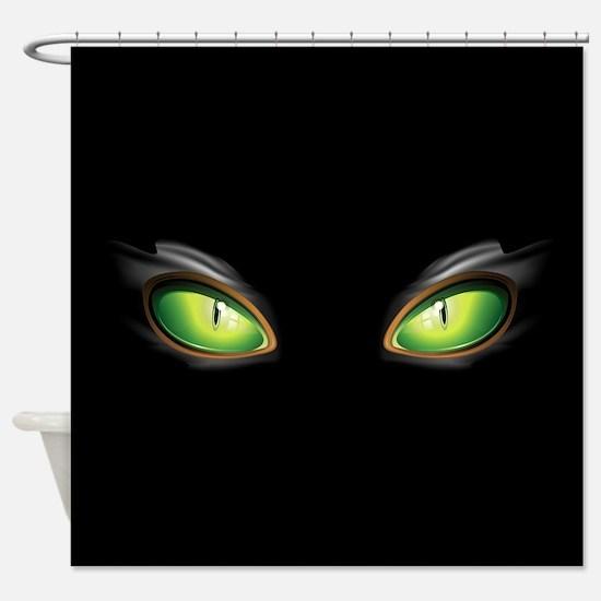 Cat Green Eyes Shower Curtain
