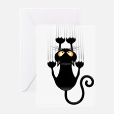 Black Cat Cartoon Scratching Wall Greeting Card