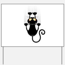 Black Cat Cartoon Scratching Wall Yard Sign