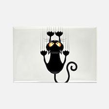 Black Cat Cartoon Scratching Wall Rectangle Magnet
