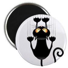 Black Cat Cartoon Scratching Wall Magnet