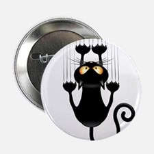 """Black Cat Cartoon Scratching Wall 2.25"""" Button"""