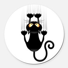 Black Cat Cartoon Scratching Wall Round Car Magnet