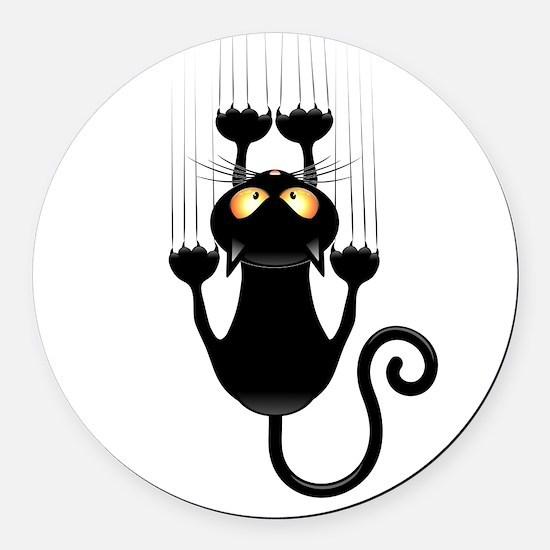 Black Cat Cartoon Scratching Wall Round Car Magnet
