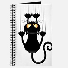 Black Cat Cartoon Scratching Wall Journal