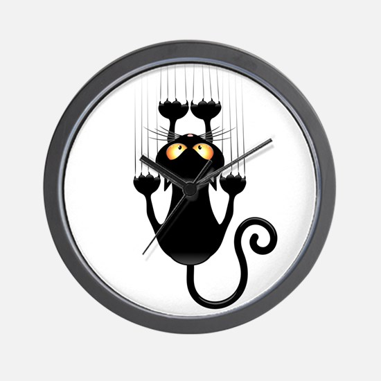 Black Cat Cartoon Scratching Wall Wall Clock