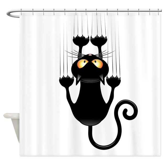 Black Cat Cartoon Scratching Wall Shower Curtain By