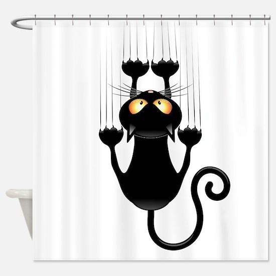 Black Cat Cartoon Scratching Wall Shower Curtain