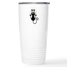 Black Cat Cartoon Scratching Wall Travel Mug