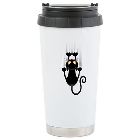 Black Cat Cartoon Scratching Wall Travel Mug
