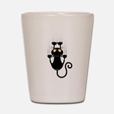 Black Cat Cartoon Scratching Wall Shot Glass