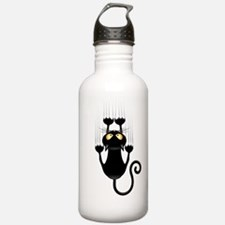 Black Cat Cartoon Scratching Wall Water Bottle