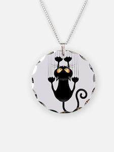 Black Cat Cartoon Scratching Wall Necklace