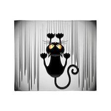 Black Cat Cartoon Scratching Wall Throw Blanket