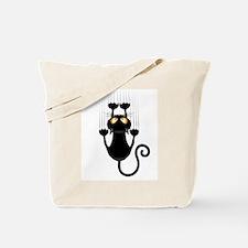 Black Cat Cartoon Scratching Wall Tote Bag