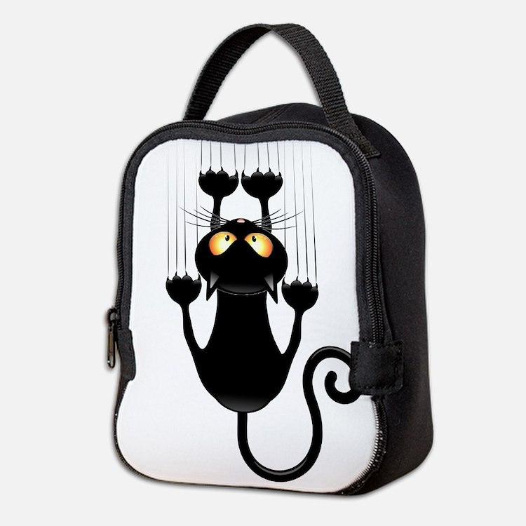 Black Cat Scratching Wall Neoprene Lunch Bag