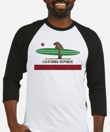California Surfing Bear Longboard Baseball Jersey