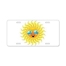 Summer Sun Cartoon with Sunglasses Aluminum Licens
