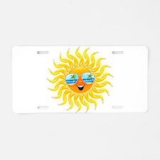 Summer Sun Cartoon with Sunglasses Aluminum Licens
