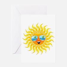 Summer Sun Cartoon with Sunglasses Greeting Card
