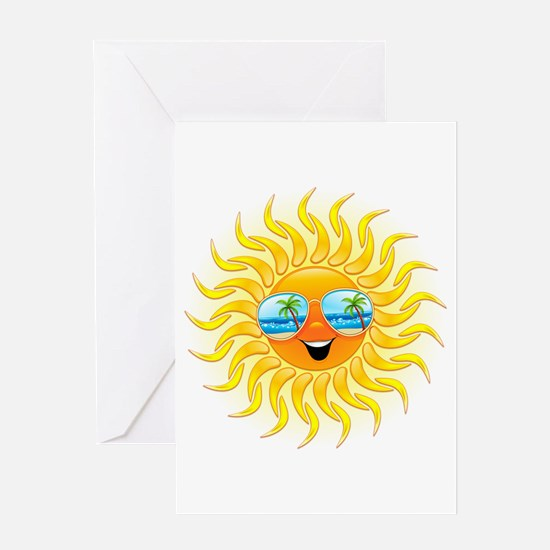 Summer Sun Cartoon with Sunglasses Greeting Card