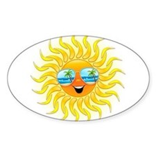 Summer Sun Cartoon with Sunglasses Decal