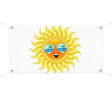 Summer Sun Cartoon with Sunglasses Banner