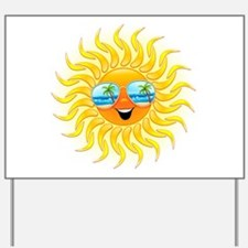 Summer Sun Cartoon with Sunglasses Yard Sign