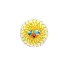 Summer Sun Cartoon with Sunglasses Mini Button