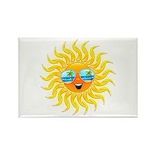 Summer Sun Cartoon with Sunglasses Rectangle Magne