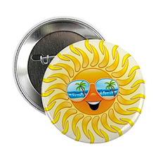 "Summer Sun Cartoon with Sunglasses 2.25"" Button (1"