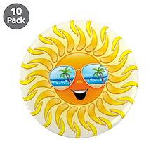 "Summer Sun Cartoon with Sunglasses 3.5"" Button (10"