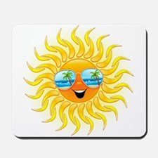 Summer Sun Cartoon with Sunglasses Mousepad