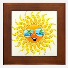 Summer Sun Cartoon with Sunglasses Framed Tile